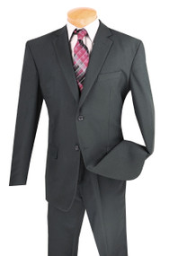 Lucci 2-Button with Flat Front Slacks Budget Suit - Dark Grey