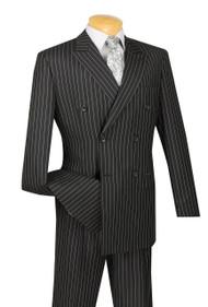 Vinci Black Bold Pinstripe Double-Breasted Suit - Pleated Slacks