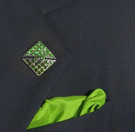 Antonio Ricci Lapel Pin/Button & Matching Silk Pocket Square - Green Square Crystal