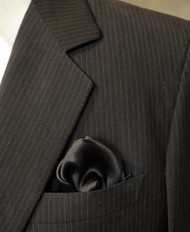 100% Silk Pocket Square - Black 12 x 12in