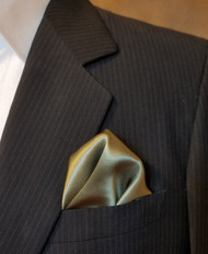 100% Silk Pocket Square - Olive 12 x 12in