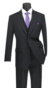 Vinci 2-Button Black Glenplaid w/ Vest Suit - Single Pleat Slacks