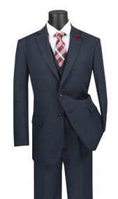 Vinci 2-Button Blue Glenplaid w/ Vest Suit - Single Pleat Slacks
