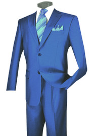 Lucci 2-Button with Flat Front Slacks Budget Suit - Royal