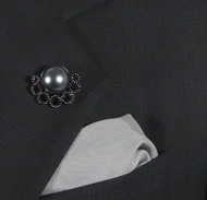 Antonio Ricci Fashion Lapel Pin/Button & Matching 100% Silk Pocket Square - Grey Pearl