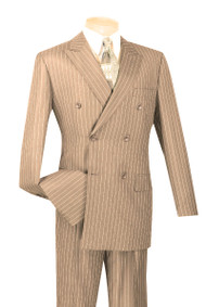 Vinci Camel Bold Pinstripe Double-Breasted Suit with Pleated Slacks