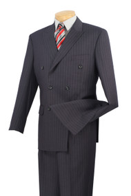 Vinci Navy Bold Pinstripe Double-Breasted Suit with Pleated Slacks