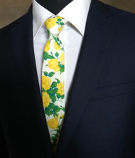 Parquet 100% Cotton Yellow Roses Skinny Tie