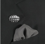 Antonio Ricci Fashion Lapel Pin/Button & Matching 100% Silk Pocket Square - Dark Oval Grey