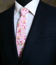 Parquet 100% Cotton Pink Small Roses Skinny Tie