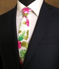 Parquet 100% Cotton Pink Hibiscus Flowers Skinny Tie