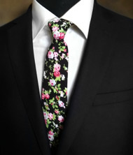 Parquet 100% Cotton Black with Small Roses Skinny Tie