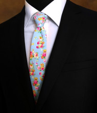 Parquet 100% Cotton Blue Small Roses Skinny Tie