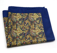 100% Silk Pocket Square - Rich Blue & Gold Paisley 12.5in x 12.5in