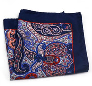 100% Silk Pocket Square - Dark Blue, Royal & Red