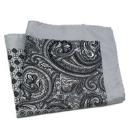 100% Silk Pocket Square - Grey and Black Paisley 12.5in x 12.5in