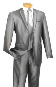 Vinci 2-Button Grey Sheened Suit with Trimmed Lapel - Slim Fit