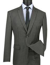 Vinci 2-Button Grey Bold Pinstripe Suit - Slim Fit