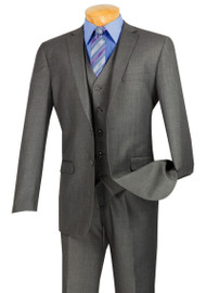 Vinci 2-Button Heather Grey Suit with Vest - Slim Fit