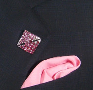 Antonio Ricci Fashion Lapel Pin/Button & Matching 100% Silk Pocket Square - Pink Square Crystal