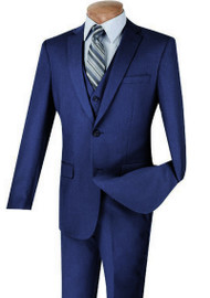 Vinci 2-Button Indigo Blue Suit with Vest - Slim Fit
