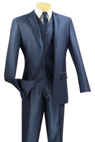 Vinci 2-Button Sheened Blue Suit with Vest - Slim Fit