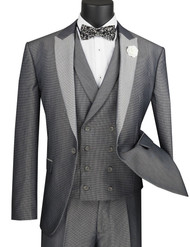 Vinci 3 Piece Fancy Grey Micro Dot Slim Fit Tuxedo or Suit