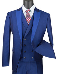 Vinci 3 Piece Fancy Blue Micro Dot Slim Fit Tuxedo or Suit