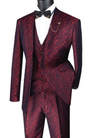 Vinci 3 Piece Fancy Floral Pattern Vested Suit - Ruby