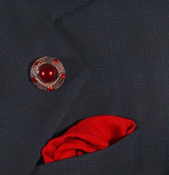 Antonio Ricci Fashion Lapel Pin/Button & Matching 100% Silk Pocket Square - Red Pearl