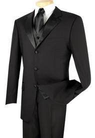 Vinci 3-Button Black Tuxedo with Vest - Classic Fit