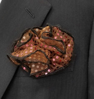 Antonio Ricci Formal Pouf Pocket Square - Shiny Dots on Golden Brown