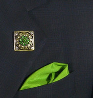 Antonio Ricci Fashion Lapel Pin/Button & Matching 100% Silk Pocket Square - Green Crystal