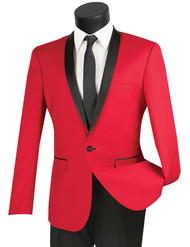 Vinci 2-Button Slim Fit Red Tuxedo