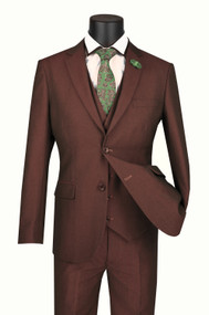 Vinci 2-Button Raisin Sharkskin with Vest Suit - Ultra Slim Fit