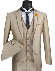Vinci 2-Button Contrasting Trim Beige with Vest Suit - Ultra Slim Fit