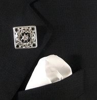 Antonio Ricci White  Fashion Lapel Pin/Button & Matching 100% Silk Pocket Square