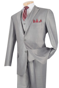 Vinci 2-Button Grey Sheened Suit with Vest