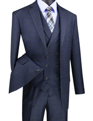 Vinci 2-Button Navy Windowpane with Double-breasted Vest Suit