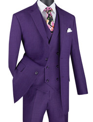 Vinci 2-Button Purple Windowpane with Double-breasted Vest Suit