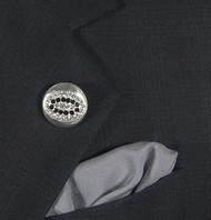 Antonio Ricci Grey Fashion Lapel Pin/Button & Matching 100% Silk Pocket Square