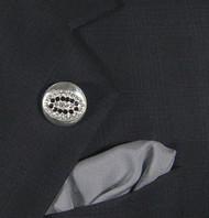 Antonio Ricci Grey Fashion Lapel Pin/Button & Matching 100% Silk Pocket Square