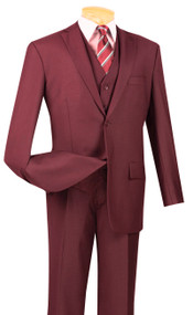Vinci 2-Button Classic Suit with Vest - Maroon - X-Long
