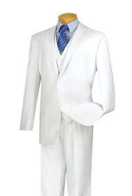 Vinci 2-Button Classic Suit with Vest - White - X-Long