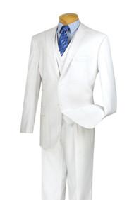 Vinci 2-Button Classic Suit with Vest - White - X-Long