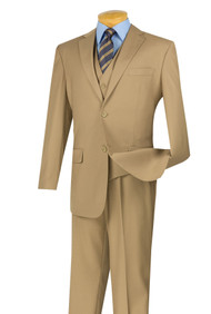 Vinci 2-Button Classic Suit with Vest - Khaki - X-Long