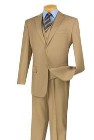 Vinci 2-Button Classic Suit with Vest - Khaki - X-Long