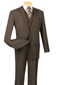 Vinci 2-Button Classic Suit with Vest - Brown - X Long