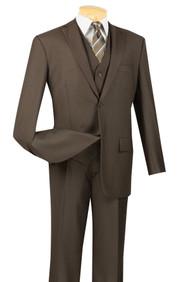 Vinci 2-Button Classic Suit with Vest - Brown - X Long