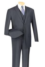Vinci 2-Button Classic Suit with Vest - Navy - X-Long